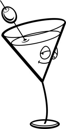 A cartoon martini with a drunk expression.