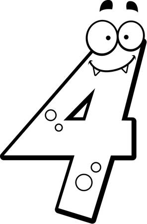 numbers clipart: A cartoon illustration of a number four monster smiling and happy. Illustration