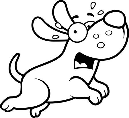 animal screaming: A cartoon illustration of a dog running away scared.
