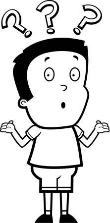 hispanic boys: A cartoon illustration of a boy shrugging.