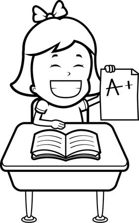 A happy cartoon student with good grades. Ilustrace
