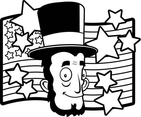 A happy cartoon Abe Lincoln in front of an American flag.