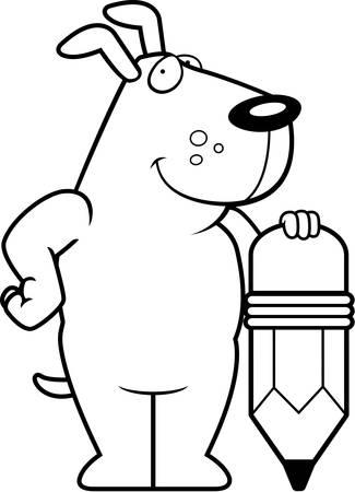 A happy cartoon dog with a pencil. Ilustracja