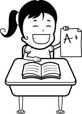 grades: A happy cartoon girl student with good grades. Illustration