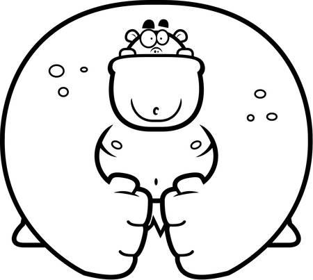 flex: A big cartoon ogre flexing his muscles. Illustration