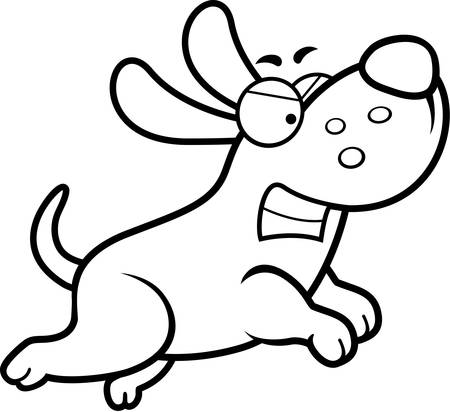 growling: An angry cartoon dog running and growling.