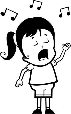A cartoon girl singing a song.