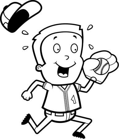 A cartoon illustration of a child playing baseball.