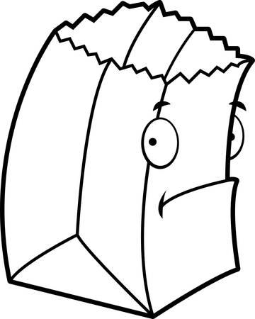 A cartoon paper bag with a sad expression.