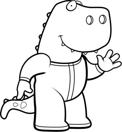 tyrannosaurus rex: Un ejemplo de la historieta de un dinosaurio Tyrannosaurus Rex en pijama. Vectores