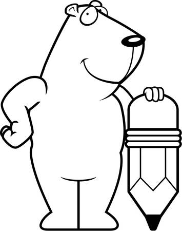 gopher: A happy cartoon groundhog with a pencil. Illustration