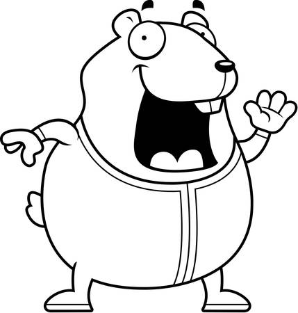pjs: A cartoon illustration of a hamster in pajamas.