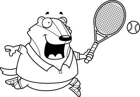 A cartoon illustration of a badger playing tennis.