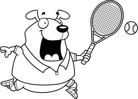 A cartoon illustration of a dog playing tennis.