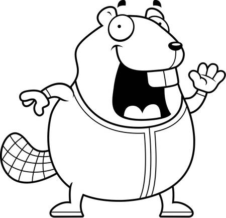 pjs: A cartoon illustration of a beaver in pajamas.