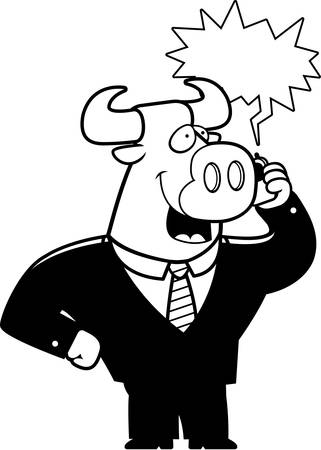 obnoxious: A cartoon bull in a suit talking on a cell phone.