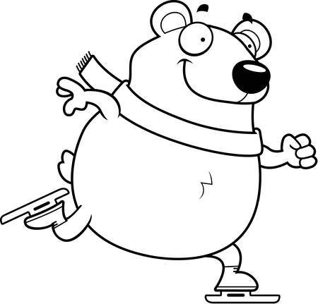 polar bear on ice: A cartoon illustration of a polar bear ice skating.
