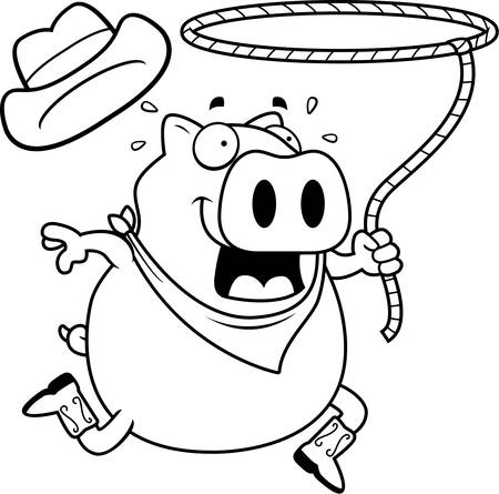 lasso: A happy cartoon rodeo pig with a lasso.
