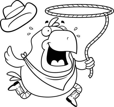 chick cartoon: A happy cartoon rodeo chicken with a lasso.