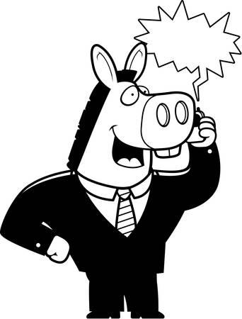 携帯電話で話しているスーツの漫画ロバ。
