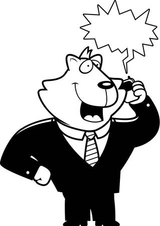 A cartoon cat in a suit talking on a cell phone.