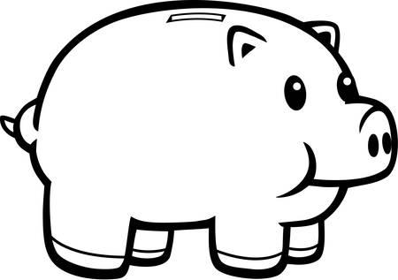 ピンクの貯金箱の漫画イラスト。 写真素材 - 43790224