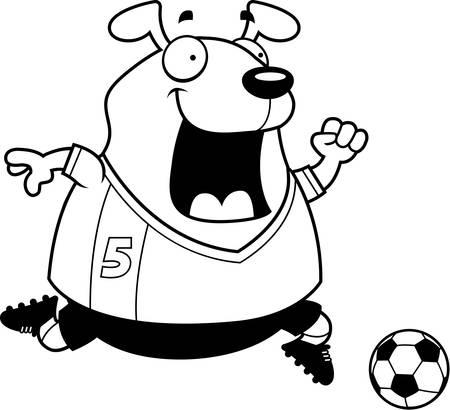 A cartoon illustration of a dog playing soccer. Illustration