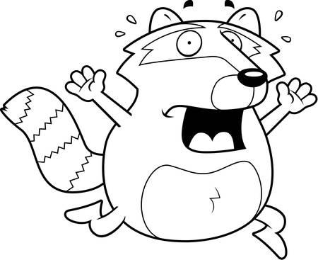 A cartoon raccoon running in a panic.