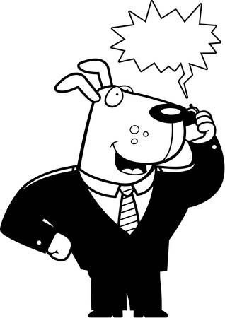 obnoxious: A cartoon dog in a suit talking on a cell phone. Illustration