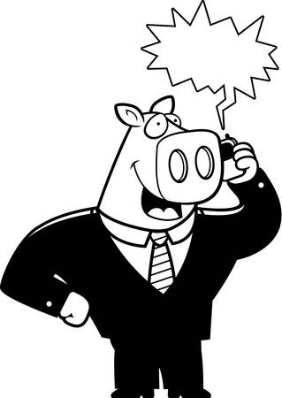 A cartoon pig in a suit talking on a cell phone.