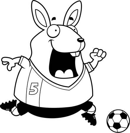 A cartoon illustration of a rabbit playing soccer. Illustration