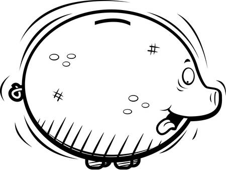 Een gelukkig cartoon round spaarpot glimlachen.