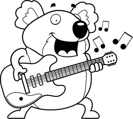 A cartoon illustration of a koala bear playing an electric guitar. Illusztráció