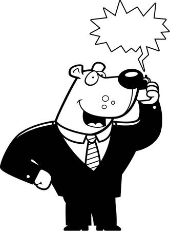 A cartoon bear in a suit talking on a cell phone. 版權商用圖片 - 43830780
