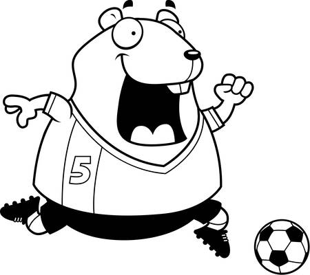 playing soccer: A cartoon illustration of a hamster playing soccer.