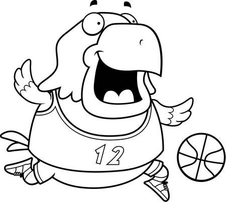 bald eagle: A cartoon illustration of a bald eagle playing basketball.
