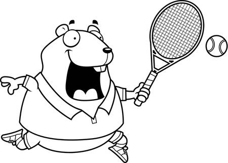 A cartoon illustration of a hamster playing tennis.
