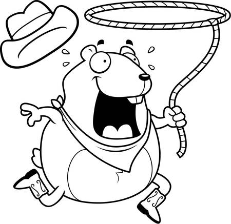 lasso: A happy cartoon rodeo hamster with a lasso.