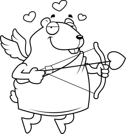 A happy cartoon hamster cupid with a bow and arrow. Illustration