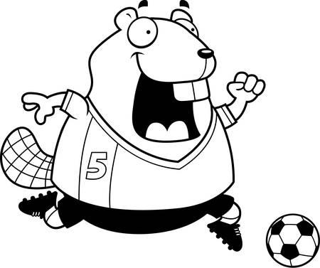 A cartoon illustration of a beaver playing soccer. Illustration