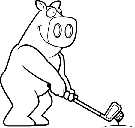 rt: A cartoon illustration of a pig playing golf. Illustration