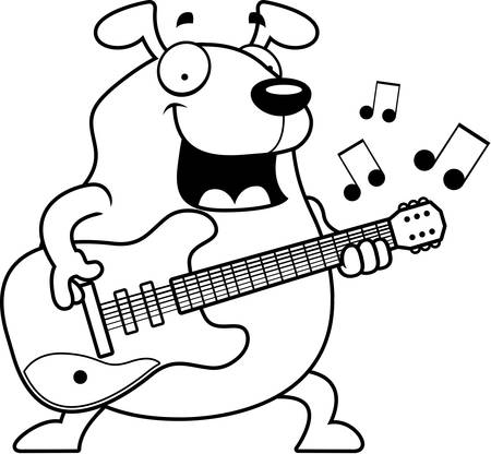 A cartoon illustration of a dog playing an electric guitar.