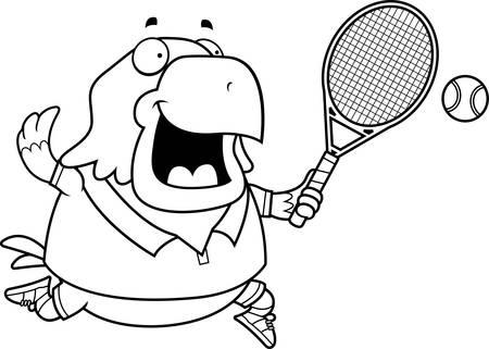 bald eagle: A cartoon illustration of a bald eagle playing tennis. Illustration
