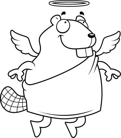 A happy cartoon beaver with angel wings and halo.