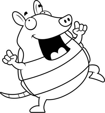 A happy cartoon armadillo dancing and smiling.