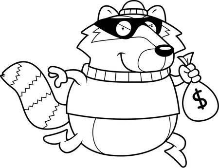 A cartoon illustration of a raccoon burglar stealing money.