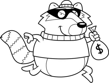 burglar: A cartoon illustration of a raccoon burglar stealing money.