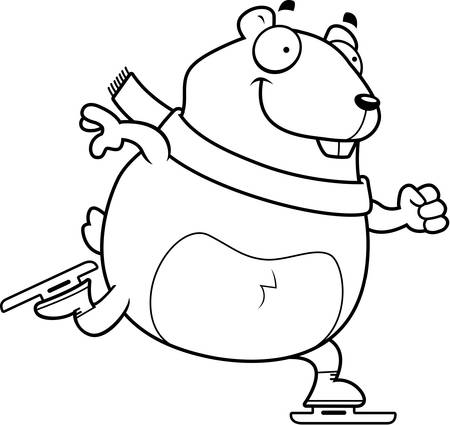A cartoon illustration of a hamster ice skating. Çizim
