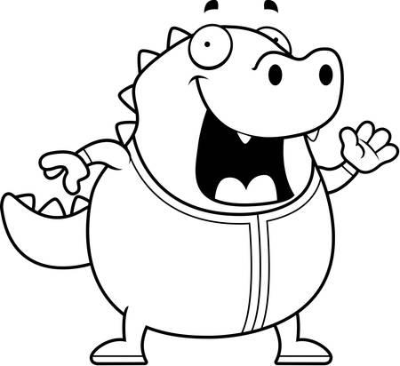 pjs: A cartoon illustration of a lizard in pajamas. Illustration