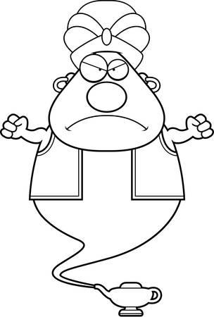 djinn: A cartoon illustration of a genie looking angry.